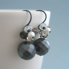 Black Fairy (SD_509) (Starry Designs) Tags: jewelry faceted earrings moonstone oxidized smokeyquartz sterlingsilver haematite freshwaterpearl