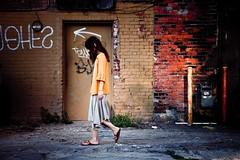 (John Anderson Beavers) Tags: city portrait woman color colour girl digital walking grafitti amy detroit arrow nikond80