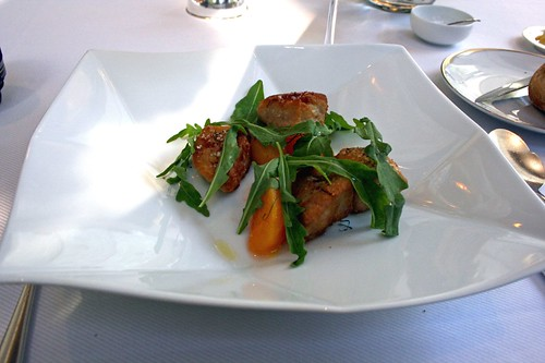 Crispy Sweetbreads and Fragrant Pickled Peach, Wild Arugula, and Pink Peppercorn