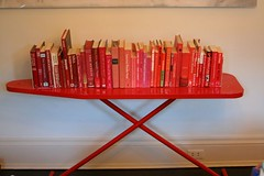 Ironing Board as a Bookshelf - Powder Coat it! (ninahale) Tags: red books ironingboard powdercoating