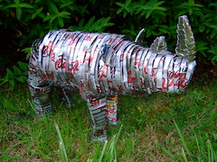Recycled Rhino made out of Coca Cola Tins
