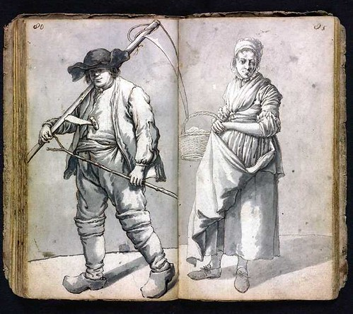 woman with basket + man carrying scythe