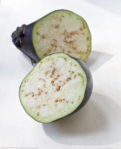 Homegrown organic eggplant