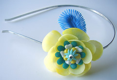 Yellow and Blue Vintage Flowers Headband