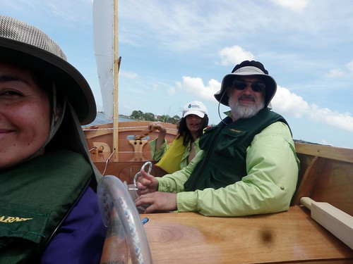 John and family sailing their jointly built plywood Goat Island Skiff sailboat