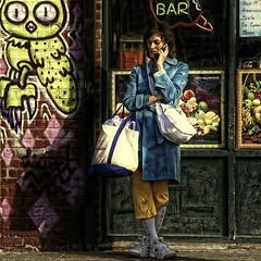 ICY   JUICY (SkyShaper) Tags: street nyc newyorkcity woman socks fruit brooklyn graffiti cellphone owl williamsburg neonsign bedfordavenue juicebar dscreet skyshaper