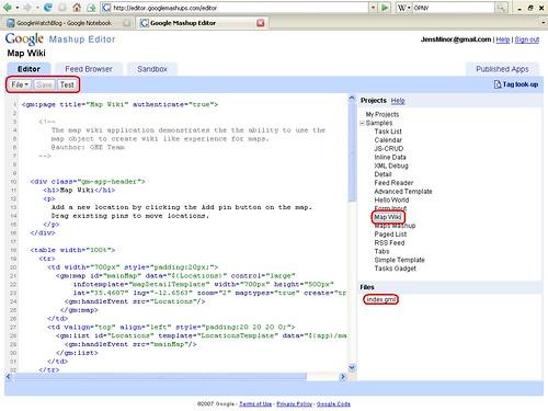 Mashup Editor Beispielquellcode Map Wiki