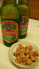 青島ビールとおつまみ