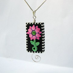 Whimsical Flower Art Bead Pendant