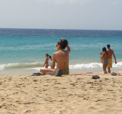 Sitting Pretty (scarlett_ribbons) Tags: ocean sea beach water girl sunglasses sand waves sitting tan playa bikini sunkissed
