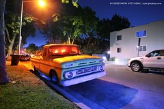 1962 Chevy Pickup Truck (Konstantin Sutyagin) Tags: street color car night truck pickup american strobist