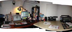My Desk... (mike ambs) Tags: california apple office bedroom mac apartment desk monitor photomerge stitched netflix typewritter northhollywood multipleimages projectpedal sonyz1u