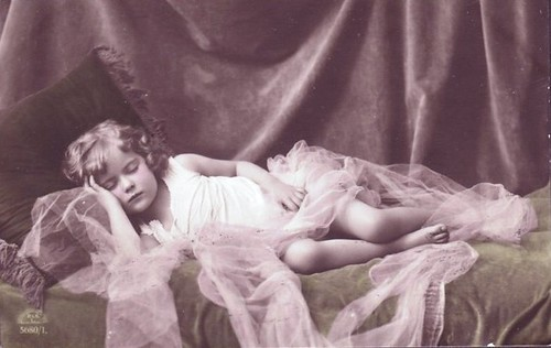 Vintage Postcard ~ Little Girl Sleeping by chicks57.