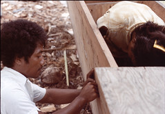 Ben and Anej, Ujelang Atoll, Marshall Islands, ~1976 (David A's Photos) Tags: copyright david islands photos marshall canoe anderson photographs atoll outrigger ujelang walapko taksuran