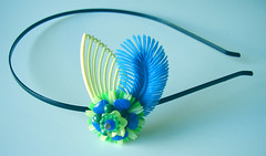 Yellow, Blue and Green Vintage Flowers Headband