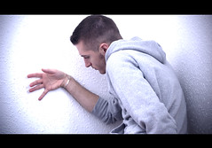 Corner Backed 5 (Damien Cox) Tags: portrait selfportrait man male film me wall corner self hoodie bedroom nikon hand d40 afsnikkor55200 damiencox snaptweet dcoxphotography