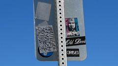 Old Devil (donnazoll) Tags: signs streetart art writing stickers tags communication labels material publicart posts memento publicworks dz substance adhesives tellingastory donnazoll thesignpostupahead aselfguidedtour