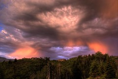 Storm over the Ridge (Thad Roan - Bridgepix) Tags: trees houses homes sunset mountain storm silhouette architecture clouds skyscape hotel colorado resort ridge ritz aspen spruce hdr photomatix skyarchitecture 200706 anawesomeshot