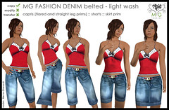 [MG fashion] DENIM belted - light wash