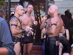 Lunch (highstrungloner) Tags: sanfrancisco leather fetish folsom bottledwater tattoos harness chaps folsomstreetfair folsomstfair folsomstreet goatees folsomst chickenkebab leathershorts leatherchaps frankcarroll leathercuffs leatherharness leatherarmbands highstrungloner