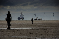 Array (Joe Dunckley) Tags: uk sea england water boats construction statues beaches fishingboats windfarms crosby antonygormley merseyside irishsea windturbines sefton anotherplace crosbybeach