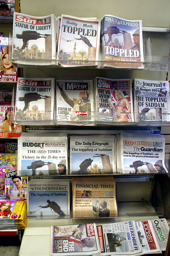 British Newspapers from the day Bagdad fell