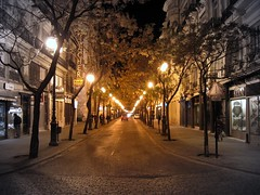 Punto de fuga (Vanishing point) (Laureano Moreno) Tags: street trees light tree valencia up car night dang