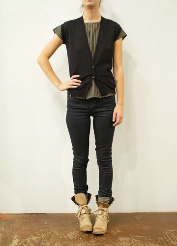 Steven Alan silk grey and yellow top, Roberto Collina Navy vest, Deener jeans, Y's Boots