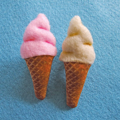 Ice Cream brooches (Crafting 365, Day 15) (Eskimimi) Tags: uk ice pin brooch cream felt cotton 99 badge plushie etsy creams cornet cornetto
