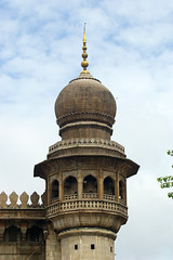 India - Hyderabad (Mecca Masjid, minaret cupola) (aupeter100) Tags: india building tower worship arch balcony minaret islam faith religion mosque cupola hyderabad islamicarchitecture finial meccamasjid hyderabadsecunderabad