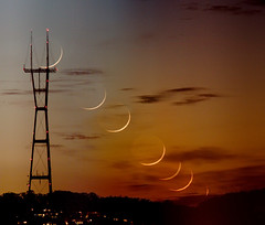 (exxonvaldez) Tags: sanfrancisco moon twilight moonset sutrotower sfist 1fantasticflash