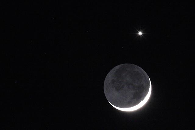 月と金星(地球照)