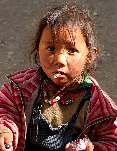 Tibetan Girl near Mount Everest