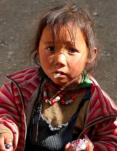 Tibetan Girl near Mount Everest