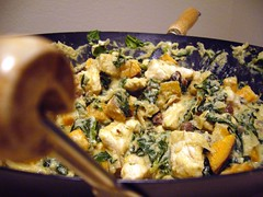 Chicken with Sweet Potatoes, Fennel, and Spinach in Cashew-Cream Sauce