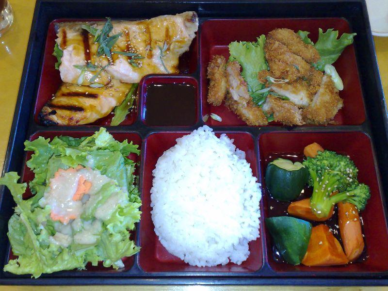Teriyaki salmon and Chicken Katsu