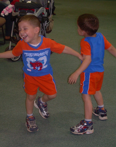 Boys dancing to the music