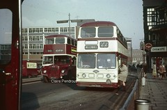 All aboard for Willenhall! (Lady Wulfrun) Tags: street bus buses lights back metro transport passengers fluorescent 1970 coventry 1970s loader willowbrook daimler loading leyland mcw cammell cvg6 atalntean