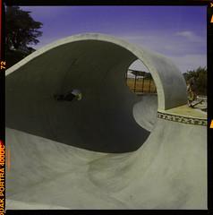 Santa Cruz Skatepark (Natural Light Seeker) Tags: california ca usa santacruz 6x6 film sc mediumformat square downtown barrel wave noflash skatepark bayarea skater backside norcal westcoast yashica greenroom twinlens wavepool yashica124 scphoto