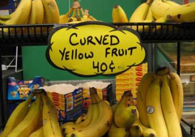 bananas - curved yellow fruit