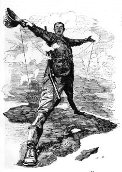 British colonialist Cecil Rhodes stands astride Africa in 1892 cartoon from British magazine Punch