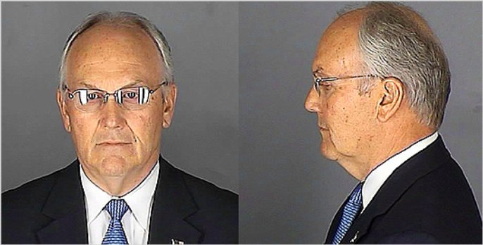 Mug shot of US Senator Larry Craig following his arrest in a restroom sex sting