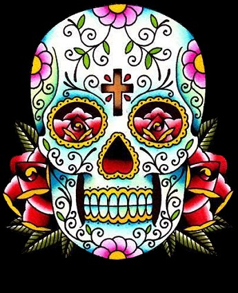For some reason Mexcian skull art has found its way into popular culture in