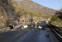 TRUCKING IN SOUTH AFRICA (Claude  BARUTEL) Tags: africa truck accident south transport police ambulance terrible firefighters