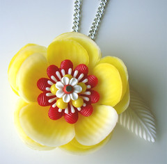 Yellow, White and Red Vintage Flowers Necklace