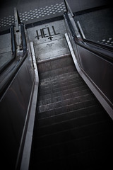 Escalator to Hell (or the lazy way to Hell) (PtitBen) Tags: brussels cold station metal grey gris metro escalator hell bruxelles down tape gaffer brussel froid enfer infierno placedebrouckre oldschooldigital