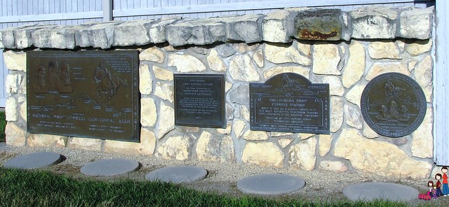 Plaques outside Hollenberg Pony Express Visitor's Center