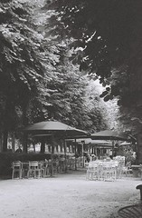 Musee Rodin cafe (ramedy) Tags: trees blackandwhite bw paris france film cafe europe tables rodin museerodin