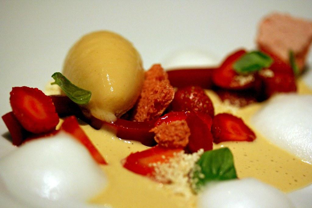Macro of Local strawberries, pandan, popcorn sorbet