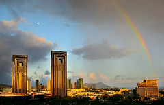 Honolulu. Sunset  and rainbow.